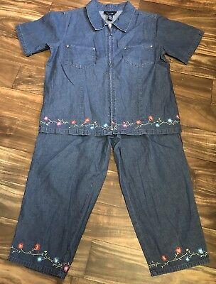 New Women's L Denim & Co. Zip Front Shirt and Elastic Waist Crop Pants Embroider