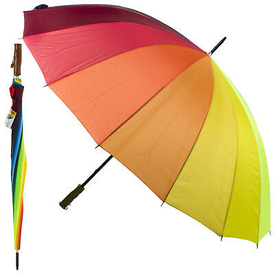 Golf Umbrella Large Unisex Canopy Shelter Rain Sun Strong Brolly Multi-Coloured