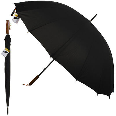 Golf Umbrella Large Unisex Canopy Shelter Rain Sun Strong Brolly Black Outdoor