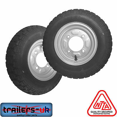 "Pair of 3.50 X 8"" Trailer Wheels with High Speed Tyres - *FREE Delivery*"