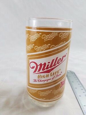 Vtg Applied Color Lable ACL MILLER HIGH LIFE BEER GLASS