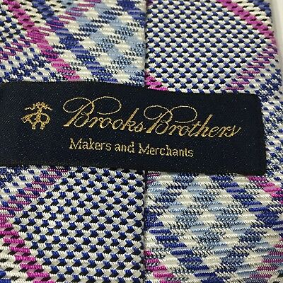 Brooks Brothers Neck Tie Makers and Merchants Blue Purple Geometric Plaid USA
