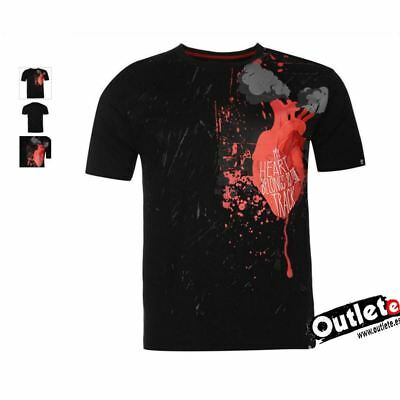 CAMISETA MOTO FASHION NO FEAR MOTO GRAPHIC HEART BELONGS Talla S NEGRO