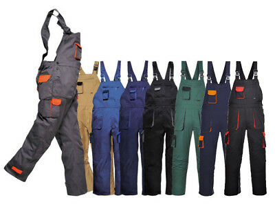 Portwest Texo Contrast Bib and Brace Protective Work Wear Overall Coverall TX12