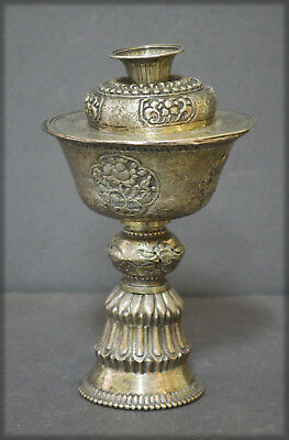 Antique Sino Tibetan Vase Solid Silver Lidded Butter Lamp Buddhism No Reserve