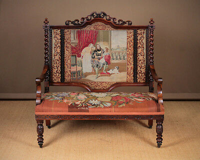 Antique Carved Rosewood Couch with Original Embroidery c.1850.