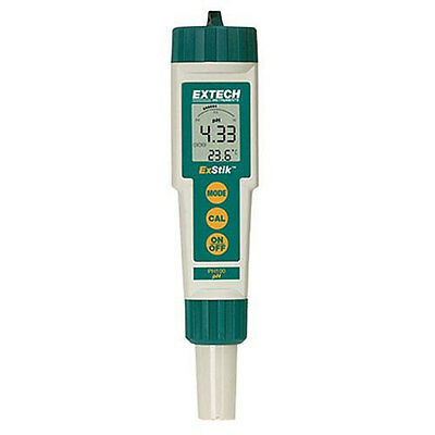 Extech PH100 pH Meter, 0.00 to 14.00pH, 0.01pH resolution/accuracy