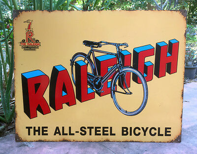 Vintage Raleigh Cycle Advertising Enamel Porcelain Tin Sign Board Collectible