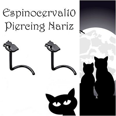 Piercings nariz nostril gato negro piercing nose black stainless steel Cat