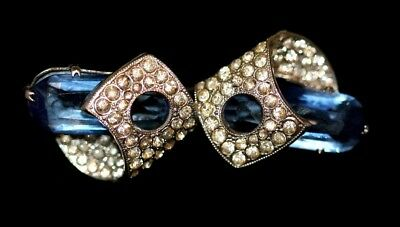 Art Deco sapphire blue white paste rhinestone diamante vintage brooch