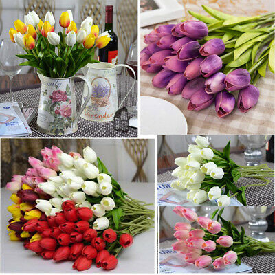Tulip Artificial Flower Latex Real Touch Bridal Wedding Bouquet Home Decor,10pcs