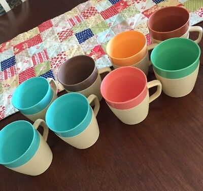 VINTAGE RAFFIAWARE THERMO TEMP MUGS SET OF 8 Blue, Green, Orange , Pink Tumblers