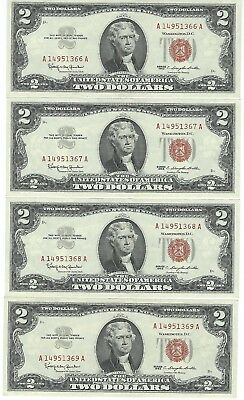 USGS  4 UNC Consecutive 1963 $2  United States Notes Red Seal   No Reseve