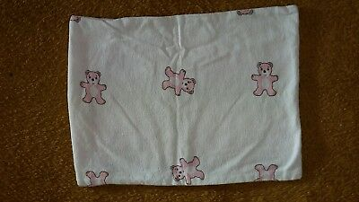 Clevamama ClevaFoam baby girl pillow replacement 100% cotton cover pink bear