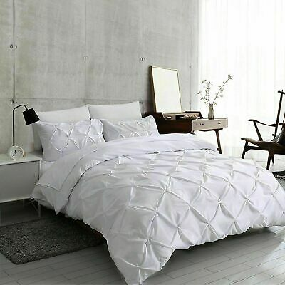 Pinch Pintuck Duvet Quilt Cover Bedding Set With Pillowcases Single Double King