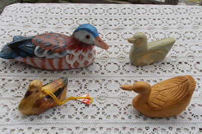 LOT Vintage Hand Painted Bird Duck Wooden Carved Decoys Figurines Stone Swans NR