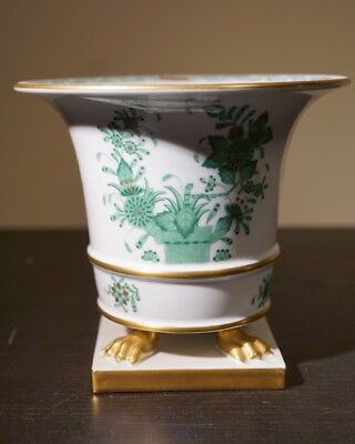 Herend Vase Green Chinese Bouquet Pattern Footed Base 24Kt Gold Plated