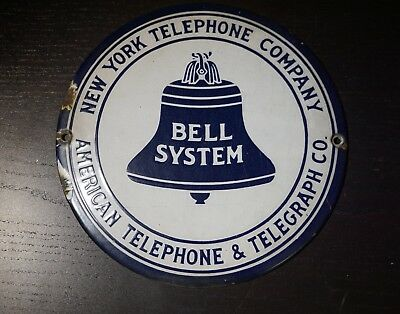 Early Bell System Telephone & Telegraph Sign /authentic (1)