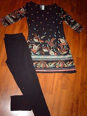 NWT~Lovely Ladies Oufit~Long Tunic Top & Black Leggings (size 14)