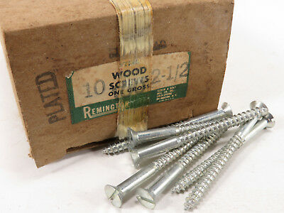 "NOS #10 x 2-1/2"" Slotted Nickel Plated Flat Head Wood Screws 1.5 LB U.S.A."