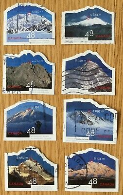 2002 UN- INTERNATIONAL YEAR OF MOUNTAINS -  SET OF 8 USED STAMPS #s 1960a-h