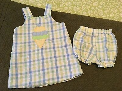Toddler Girl's BAILEY BOYS Reversible Gingham Dress + Bloomers Outfit - Size 2T