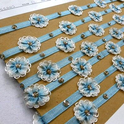 Antique French Blue Ombre Ribbon Trim 18 Inch Length