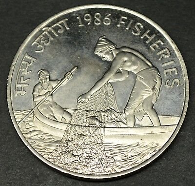 India Republic 20 Rupees 1986 Fisheries Silver Coin