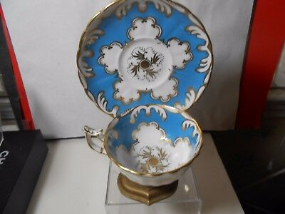 Royal Chelsea Vintage Cup & Saucer Turq-White-Gold Outstanding Look Wow