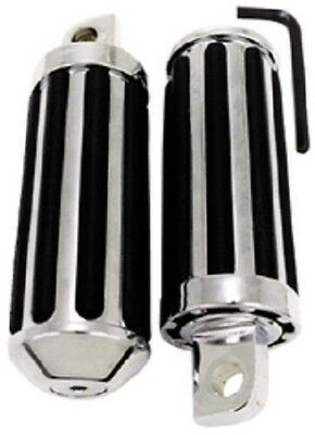 "New Harley Chrome Rail Footpeg Footrest Pair Male Mount 4-1/4 Long 7/16"" Wide"