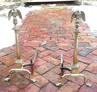Antique Federal Style Eagle Brass & Iron Fireplace Andirons pair