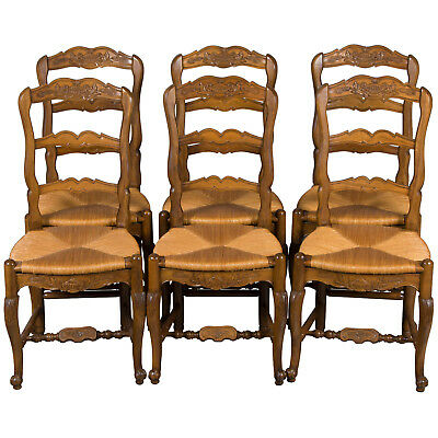 Vintage Antique Style French Set of Six Ladder Back Dining Room Kitchen Chairs