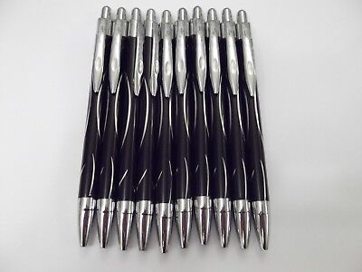 Metal Pens with click action. Black barrel with Silver trim Pack of 10