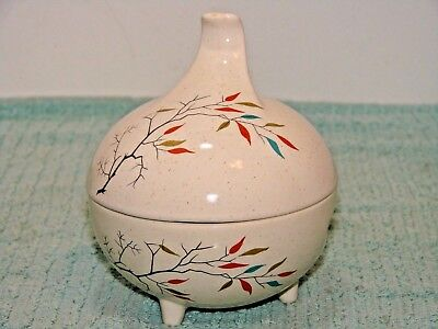 Rare Usa Salem China South Wind Sugar Bowl Footed Free Form 3 Toed Tree Branch