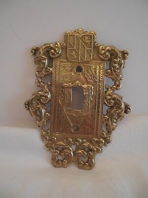 Vtg Ornamental Switch Plate Coat if Arms Scrollwork Virginia Metalcrafters