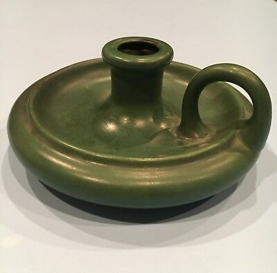 Arts And Crafts Vintage Pottery Chamber Candle Holder Matte Green