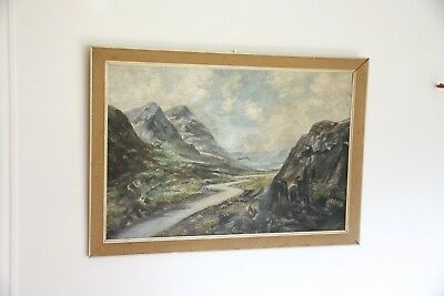 Oil Painting On Board Of Scottish Highlands, Glencoe Argyle, Framed, L.Lloyd
