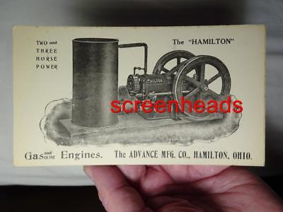 Old Estate-THE HAMILTON HIT & MISS GAS ENGINE ADVERTISING TRADE CARD Hamilton Oh