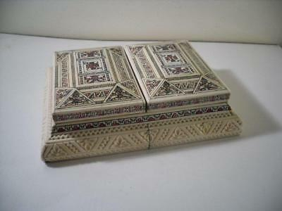An Art Deco Elaborately Decorated Double Playing Card Box & Cards : c1930