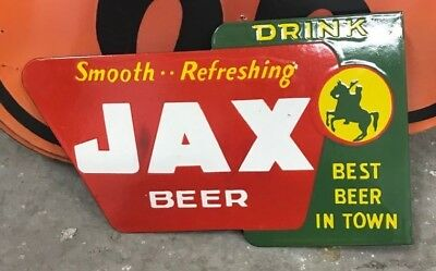 JAX BEER FLANGE PORCELAIN ENAMEL SIGN 18x11 inches