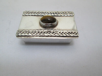 STERLING SILVER  SNUFF BOX  / PILL BOX With  tiger eye   made in  Israel