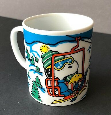 Peanuts Snoopy and Woodstock Riding On Ski Lift Cup Mug - White 60s