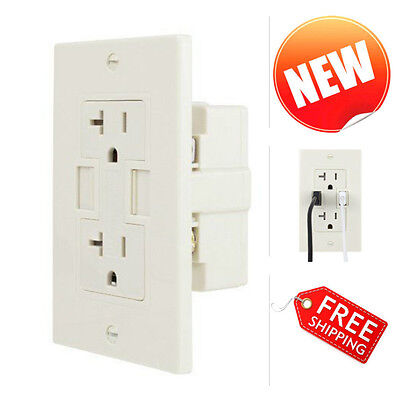 20A WALL Outlet Electrical Plug with 2 USB Charging Ports 2 AC 110V ...