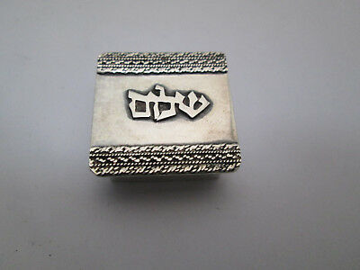 STERLING SILVER  SNUFF BOX  / PILL BOX  שלום Shalom   made in  Israel