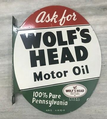 WOLF'S HEAD MOTOR OIL PENNSYLVANIA PORCELAIN FLANGE DOUBLE SIDE 22x18x2 inch