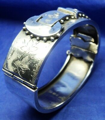 Victorian Solid Silver Hinged Buckle Design Bangle By John M Banks B'ham 1884