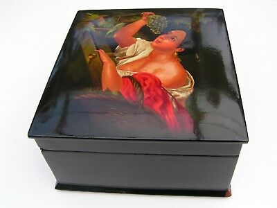 Large old Russian Fedoskino papier mache lacquer box 1960