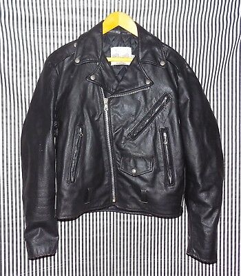 Vintage Excelled Black Leather Jacket Motorcycle 42 R Made in USA Biker