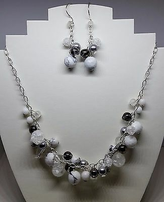 Quartz, shell pearl & howlite silver plated bubble necklace & earrings -handmade