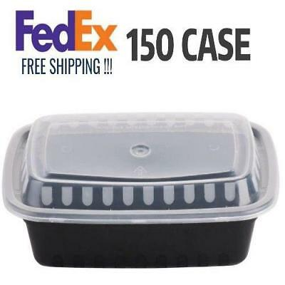150 CASE 24 Oz BLACK Take Out Microwavable Food Lunch Deli Container Lid Storage